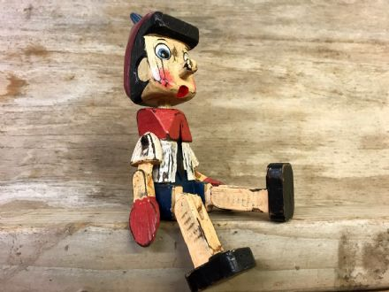 Vintage Finish Wooden Puppet Pinocchio Sitting Ornament - SMALL